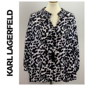 Karl Lagerfeld Split Neck Blouse Pearl Detail XL